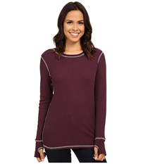 Allen Allen L S Thumbhole Tee Thermal Crew Eggplant Women's Long Sleeve Pullover Purple