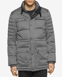Calvin Klein Men's Four Pocket Puffer Coat Medium Grey Heather