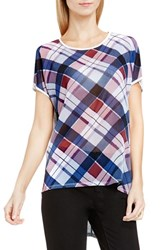 Vince Camuto Women's Two By Plaid Fable Mixed Media Tee
