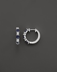 Bloomingdale's Sapphire And Diamond Hoop Earrings In 14K White Gold Blue White