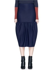 Victoria Beckham Gathered Bubble Hem Midi Skirt Blue