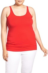 Sejour Plus Size Women's New Slim Strap Tank Red Bloom