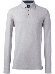 Hackett Longsleeved Polo Shirt Grey