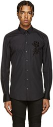 Dolce And Gabbana Black Beaded Rose Shirt