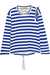Golden Goose Deluxe Brand Tammy Jo Ruffled Striped Cotton Jersey Top Blue
