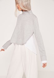 Missguided Double Layered Shirt Back Sweatshirt Grey Grey