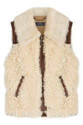 Polo Ralph Lauren Lamb Leather And Shearling Vest Beige