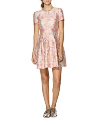 Cynthia Rowley Floral Print Metallic A Line Dress Coral Multi