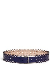 Azzedine Alaia 'Vienne' Lasercut Leather Belt Blue