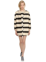 Mother Of Pearl Floral Printed Cotton And Silk Cocoon Coat Black White