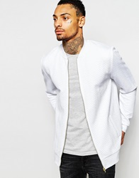 Asos Quilted Jersey Bomber Jacket White
