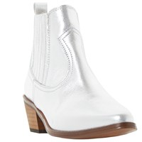 Dune Quin Cowboy Ankle Boots Pewter Leather