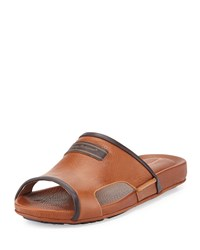 Tommy Bahama Myer Leather Slide Sandal Whiskey