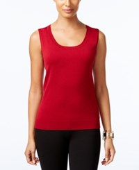 August Silk Scoop Neck Shell Uno Red