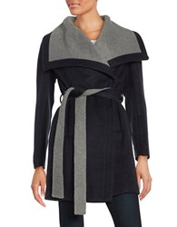 Bcbgeneration Belted Wrap Coat Navy Blue Charcoal