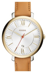 Fossil 'Jacqueline' Round Leather Strap Watch 36Mm Tan Gold