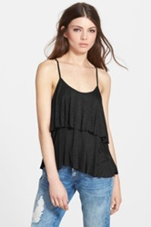 Band Of Gypsies Double Layer Crochet Inset Tank Black
