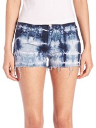 J Brand Low Rise Photo Ready Tie Dye Cut Off Shorts Tied Estate Blue