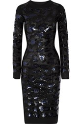 Sibling Sequin Embellished Merino Wool Dress Black