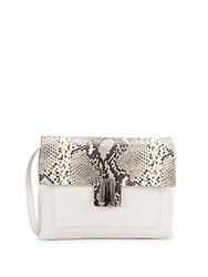 Badgley Mischka Janine Smooth And Snake Embossed Leather Crossbody White