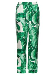 Dolce And Gabbana Banana Leaf Print Wide Leg Silk Trousers Green Multi