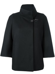 Fay Short Cape Coat Black