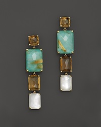 Ippolita 18K Gold Rock Candy Gelato Rectangular 4 Stone Linear Drop Post Earrings In Sailor
