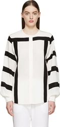 Chloe Milk White And Black Striped Cr Pe De Chine Blouse