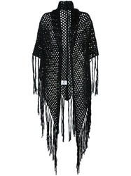 Carven Fishnet Fringed Shawl Black
