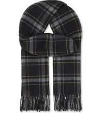 The Kooples Checked Wool Scarf Black Grey