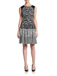 Saks Fifth Avenue Red Mixed Print Faux Leather Paneled Fit And Flare Dress Black White