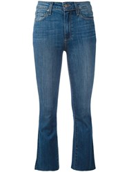 Paige 'Colette' Cropped Flared Jeans Blue