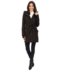 Jessica Simpson Long Softshell W Faux Fur Collar And Hood Black Women's Coat