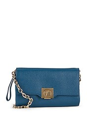 Versace Leather And Goldtone Chain Handbag Oil Navy