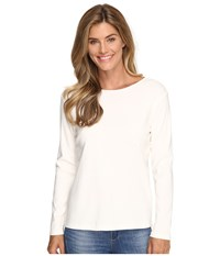 Pendleton L S Jewel Neck Cotton Rib Tee Ivory Women's Long Sleeve Pullover White