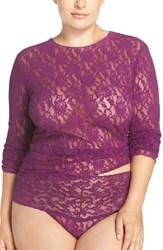 Hanky Panky Plus Size Women's Long Sleeve Lace Tee Fine Wine