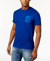 Tommy Hilfiger Men's Paisley Pieced T Shirt Sodalite Blue