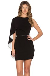 Halston Asymmetrical Sleeve Mini Dress Black