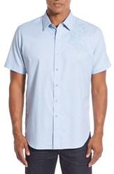 Robert Graham Men's Big And Tall 'Leakey' Classic Fit Short Sleeve Floral Embroidered Sport Shirt