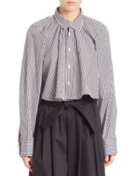 Tome Striped Cotton Long Sleeve Shirt Black White