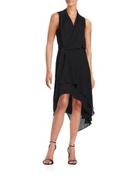 Kobi Halperin V Neck Sleeveless Silk Wrap Dress Black