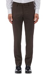 Incotex Men's S High Comfort Stretch Wool Twill Trousers Brown