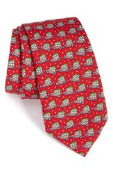 Vineyard Vines Men's Woody And Tree Silk Tie Red