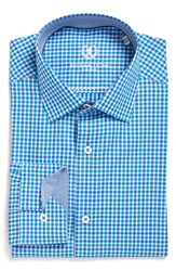 Bugatchi Men's Big And Tall Trim Fit Check Dress Shirt Turquoise