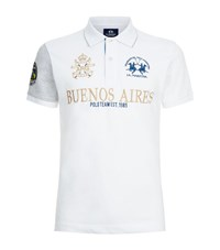 La Martina Contrast Sleeve Polo Shirt Male White