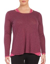 Marc New York Mock Layered Striped Performance Long Sleeve Top Pink