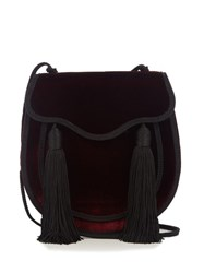Saint Laurent Opium 2 Tassel Trimmed Velvet Shoulder Bag Burgundy