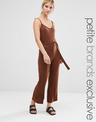 One Day Petite Wrap Front Cami Strap Awkward Length Jumpsuit Chocolate Brown