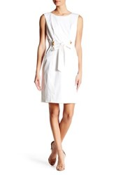 Ellen Tracy Belted Shift Dress White