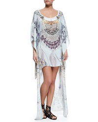 Camilla Scoop Neck Printed And Beaded Kaftan Coverup